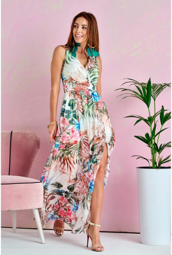 Sukienka maxi w kwiaty plus size