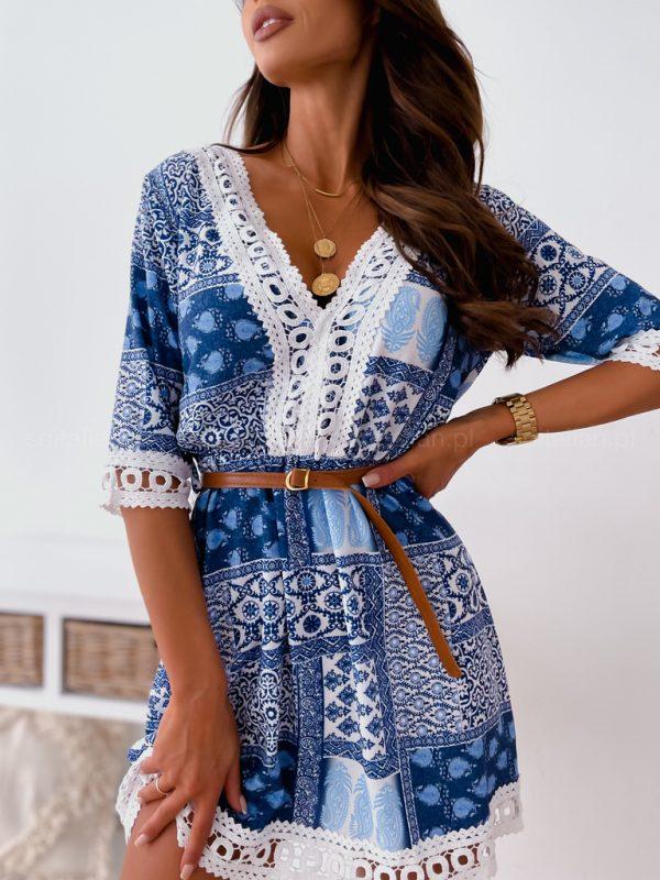 Sukienka niebieska mozaika w stylu boho