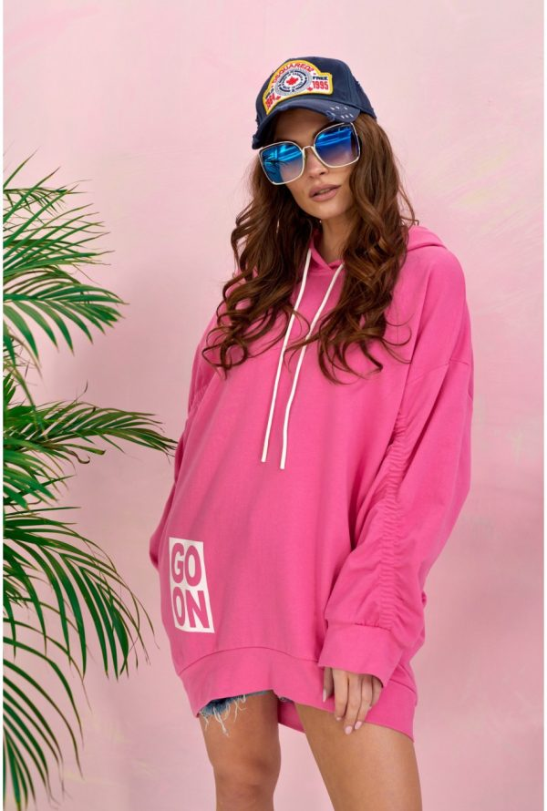 Bluza damska oversize z kapturem różowa