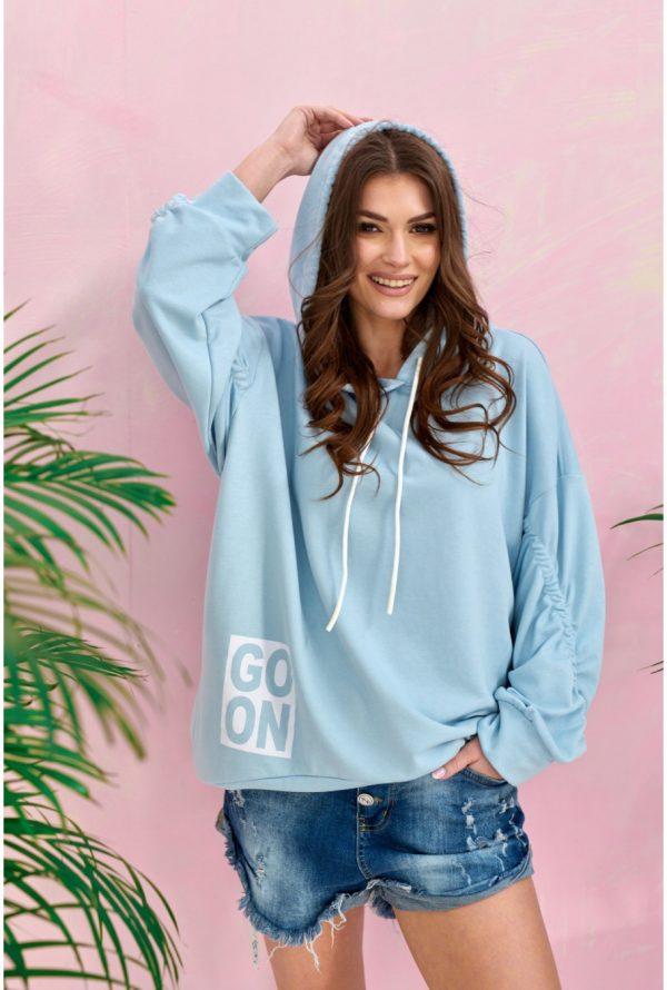 Bluza damska oversize z kapturem niebieska