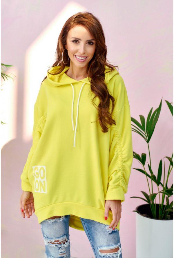 Bluza damska oversize z kapturem żółta