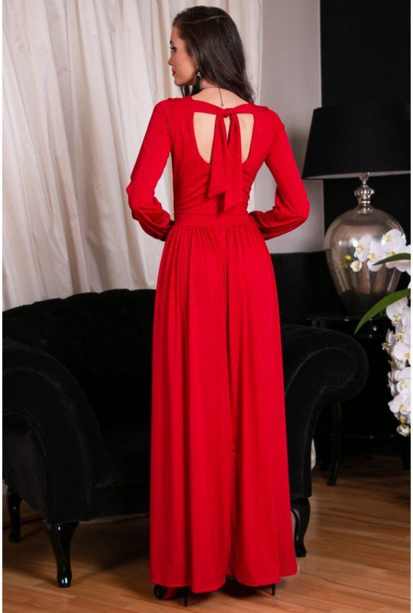 Sukienka maxi brokatowa czerwona plus size