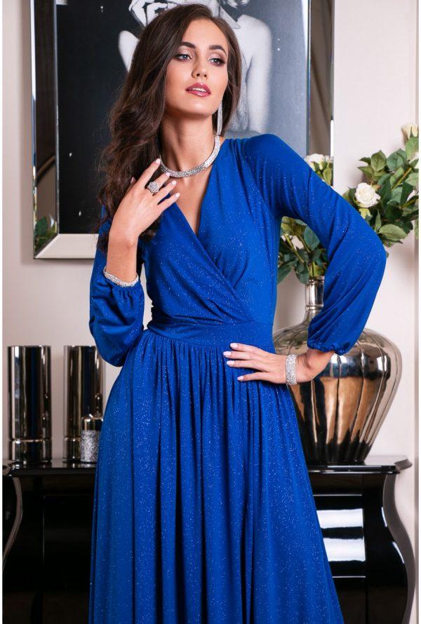 Sukienka maxi brokatowa chabrowa plus size
