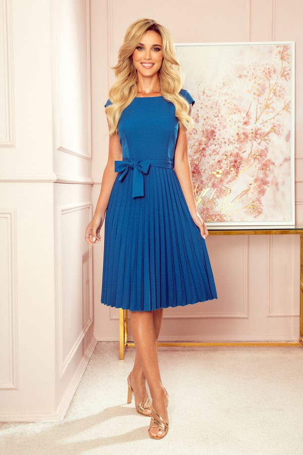 Sukienka plisowana midi niebieska