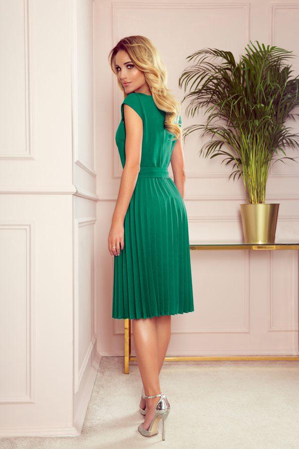 Sukienka plisowana midi butelkowa zieleń