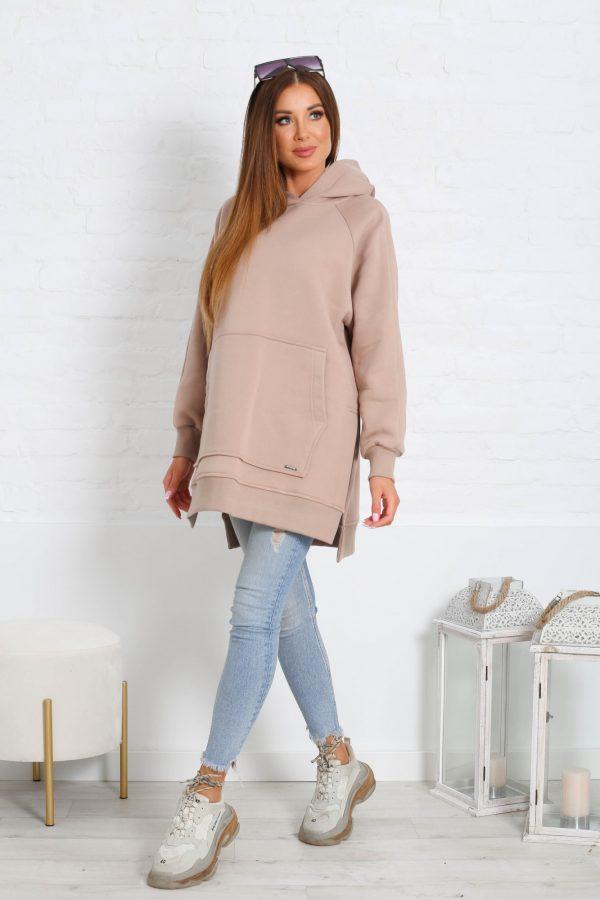 Bluza damska z kapturem beżowa