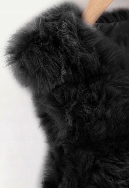 Kamizelka damska futrzana czarna