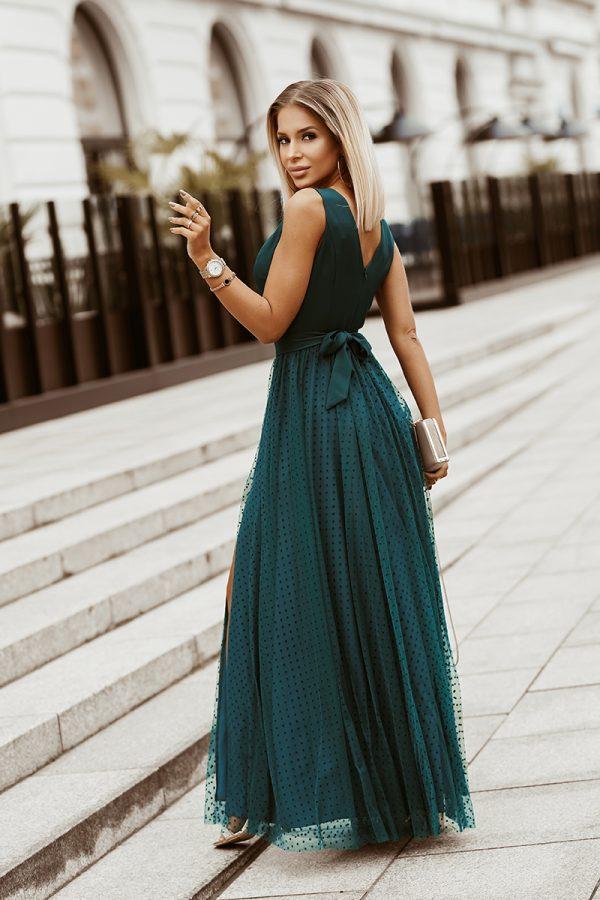 Sukienka maxi w groszki tiulowa zielona