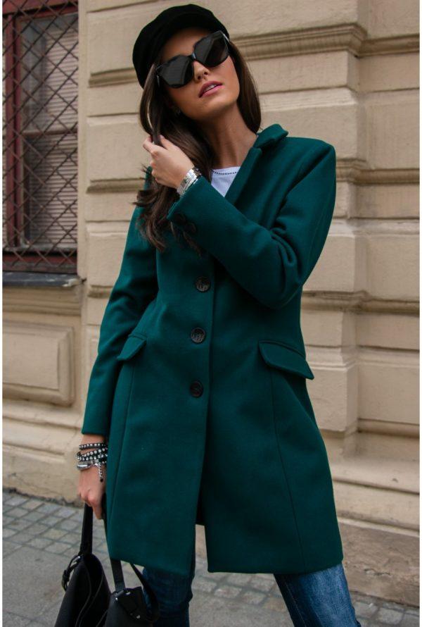 Płaszcz damski jednorzędowy zielony