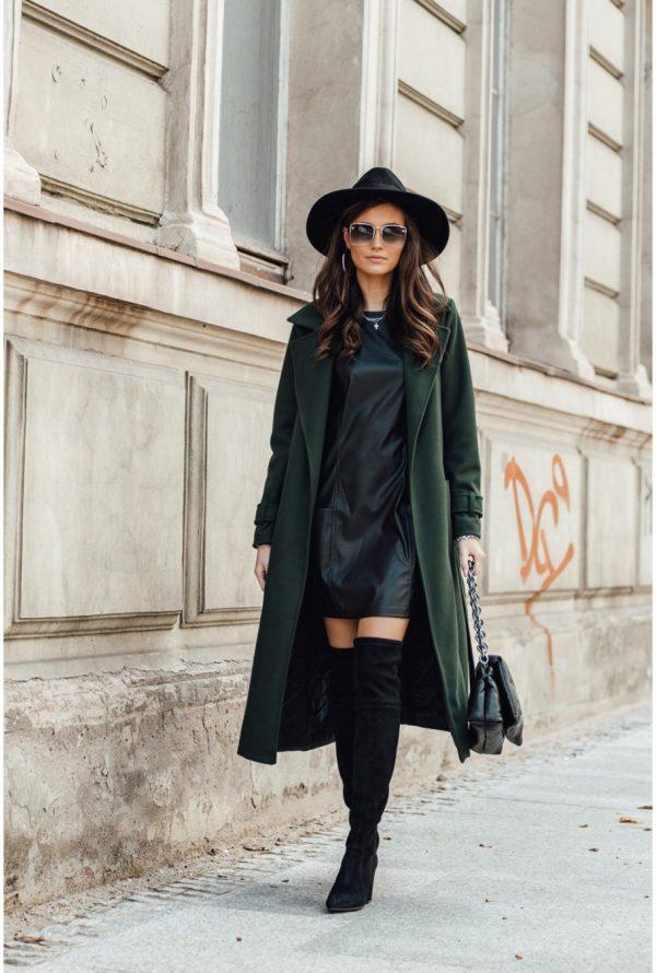 Wełniany płaszcz damski zielony